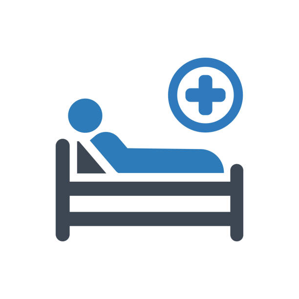 hospital bed icon - hospital stock illustrations