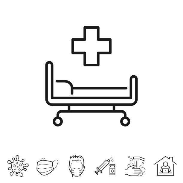 Hospital bed. Line icon - Editable stroke vector art illustration