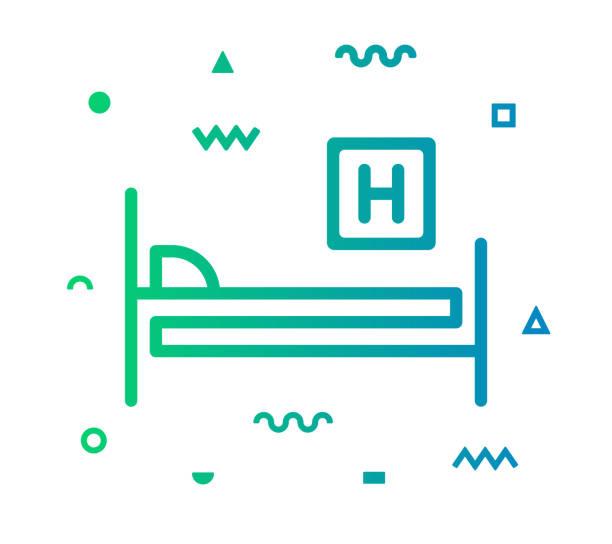 bildbanksillustrationer, clip art samt tecknat material och ikoner med sjukhus säng linje stil ikon design - sjukhusavdelning
