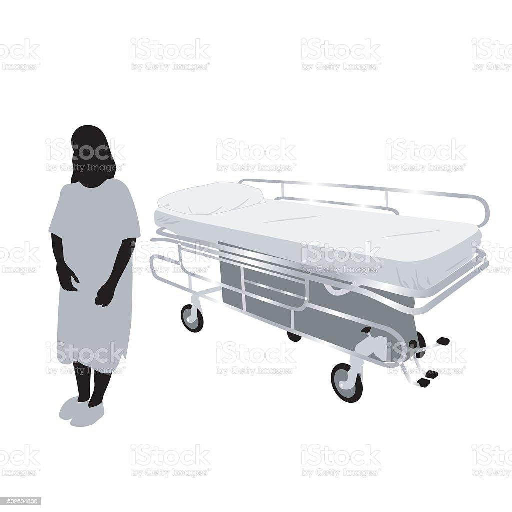 Hospital Bed vector art illustration