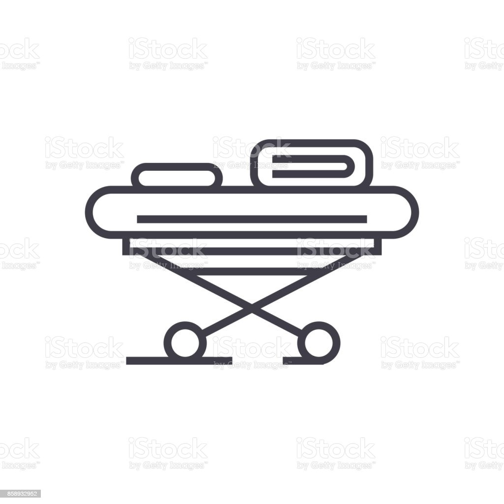 hospital bed vector line icon, sign, illustration on background, editable strokes vector art illustration