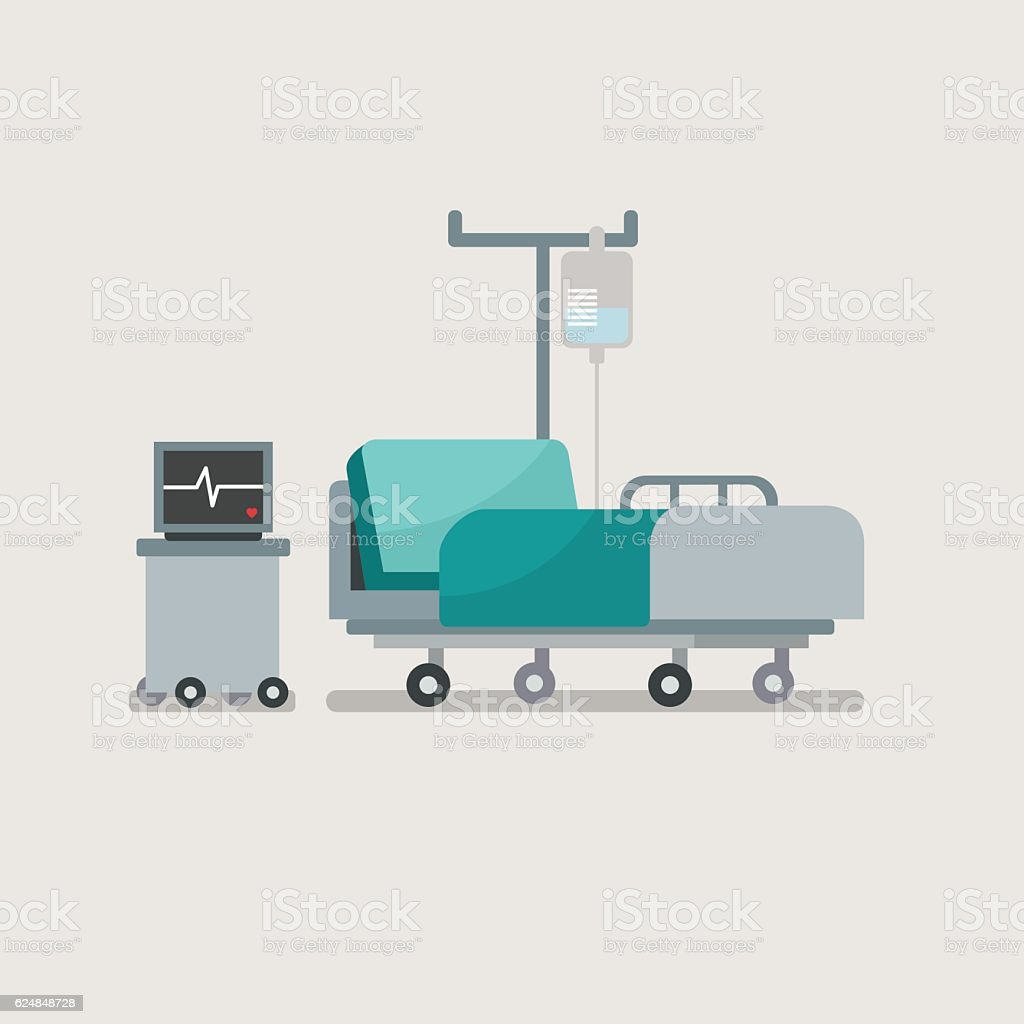 Hospital bed with medical equipments. vector art illustration