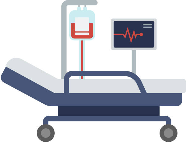 hospital bed with medical equipments - bed stock illustrations