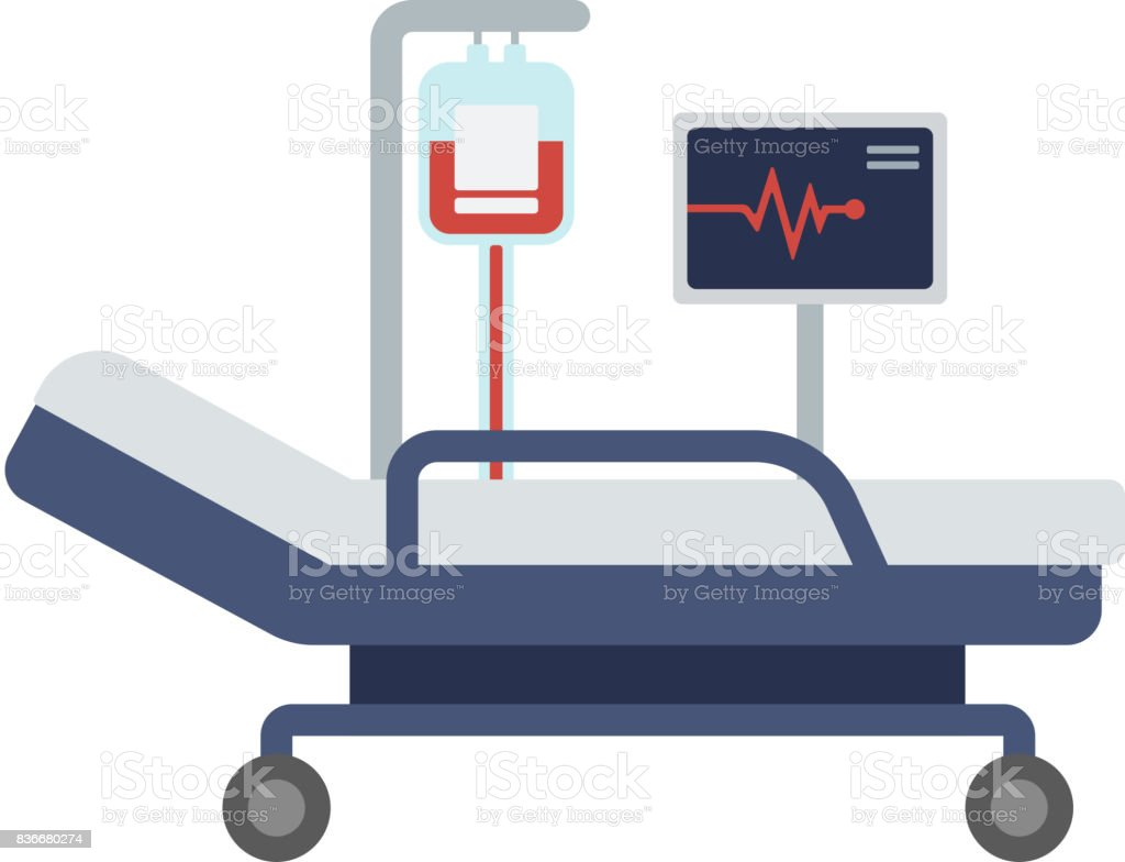 Superbe Hospital Bed With Medical Equipments Vector Art Illustration