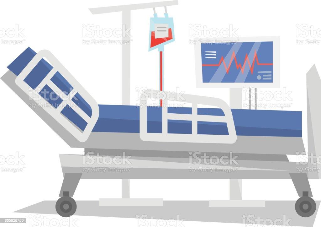 Hospital bed with medical equipments vector illustration vector art illustration