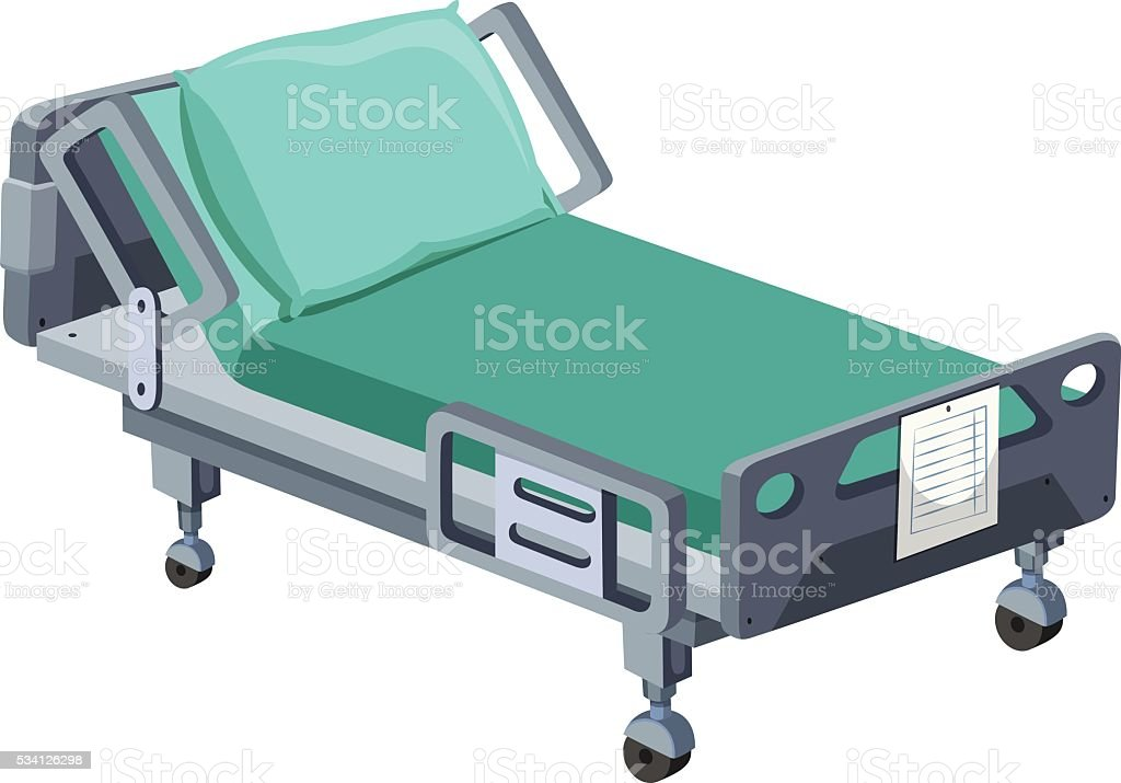 Hospital bed with wheels vector art illustration