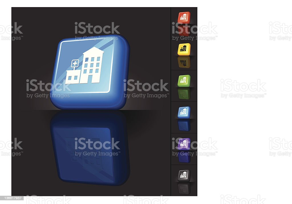 hospital building 3D button design royalty-free stock vector art