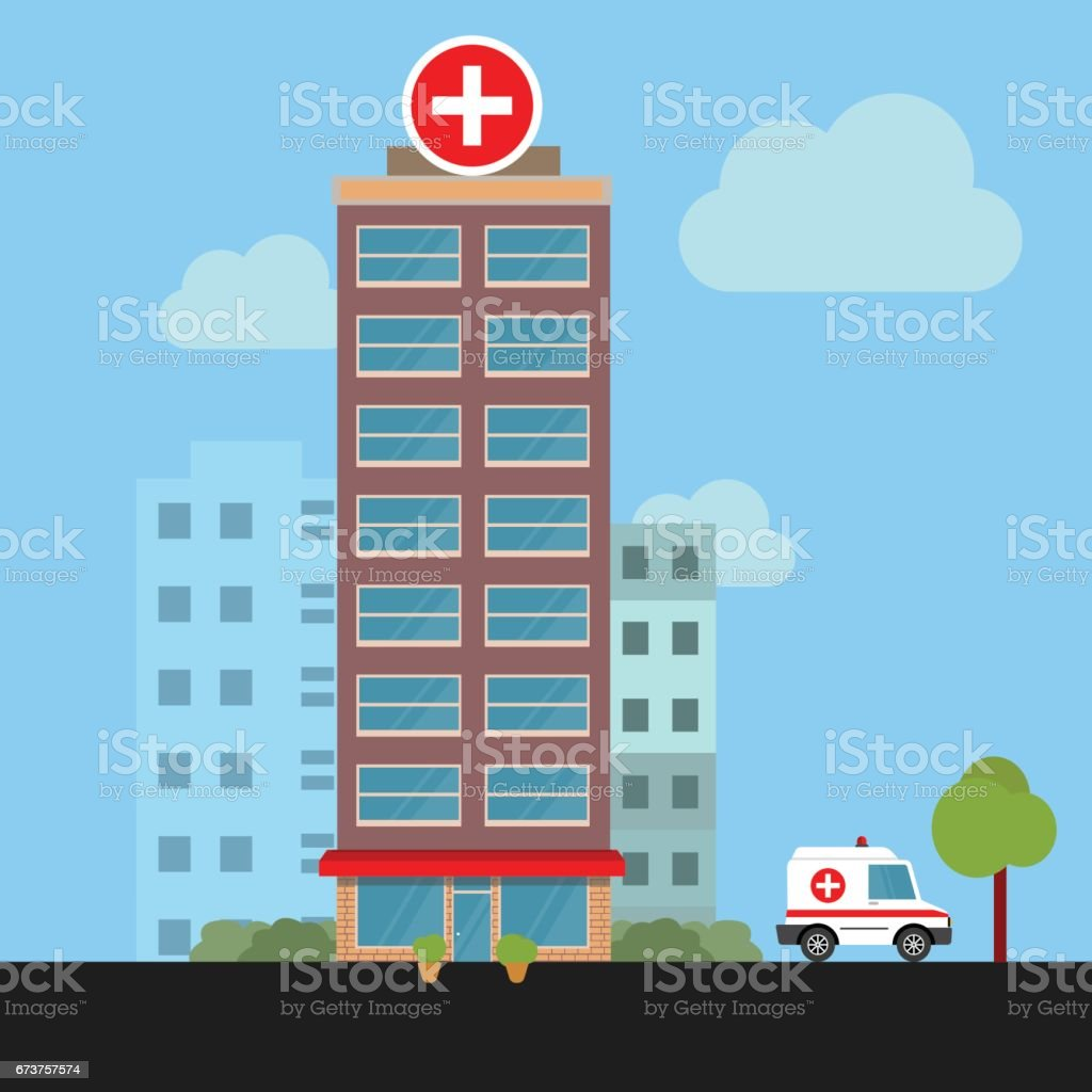 Hospital building cross white icon isolated Clinic - Illustration vector art illustration