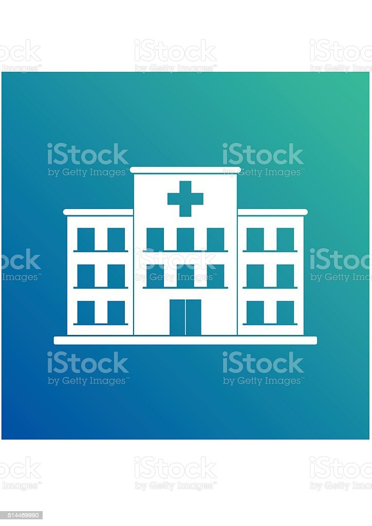 Hospital building cross white icon isolated on blue background. Clinic vector art illustration