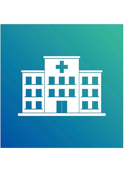 クロス病院の建物のアイコンの青色の背景に分離します。診療所 - 病院点のイラスト素材/クリップアート素材/マンガ素材/アイコン素材