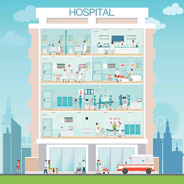 hospital building exterior with doctor and patient. - bodenbetten stock-grafiken, -clipart, -cartoons und -symbole