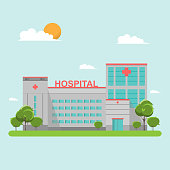 Hospital building flat style on blue sky. Ambulance, health and care, aid and doctor. Vector illustration