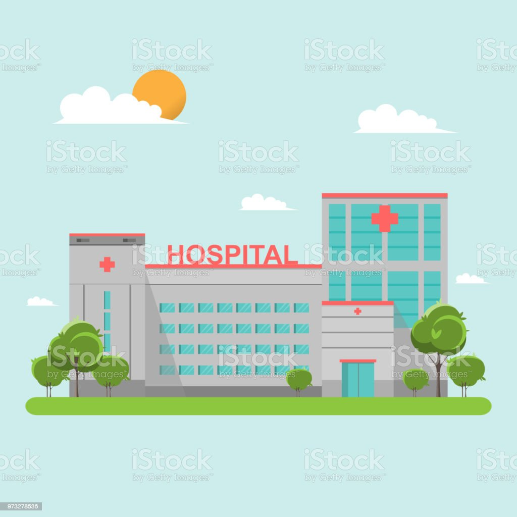 Krankenhaus, flache Bauweise auf blauen Himmel – Vektorgrafik