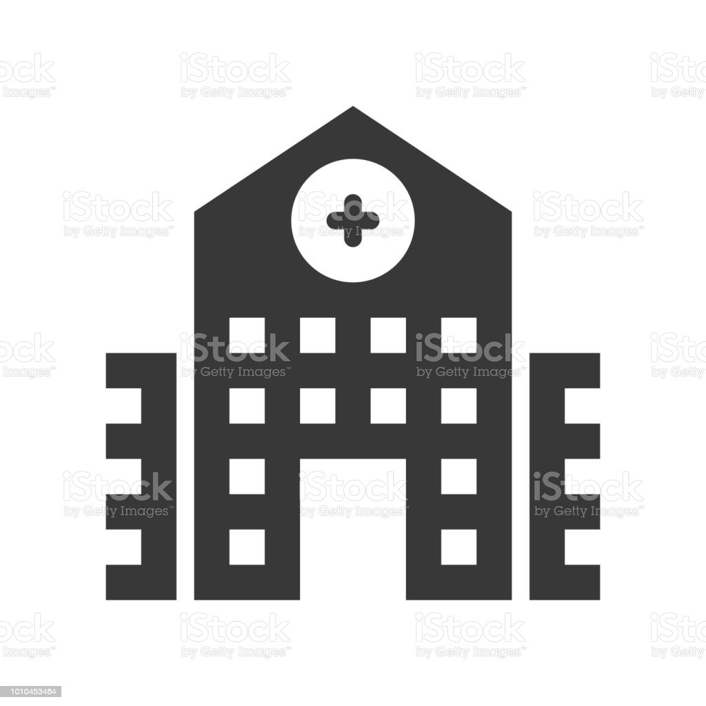 hospital building, healthcare and medical related solid icon vector art illustration