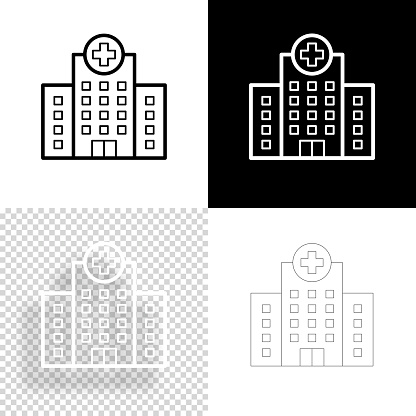 Hospital building. Icon for design. Blank, white and black backgrounds - Line icon