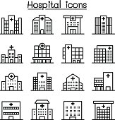 Hospital building icon set in thin line style