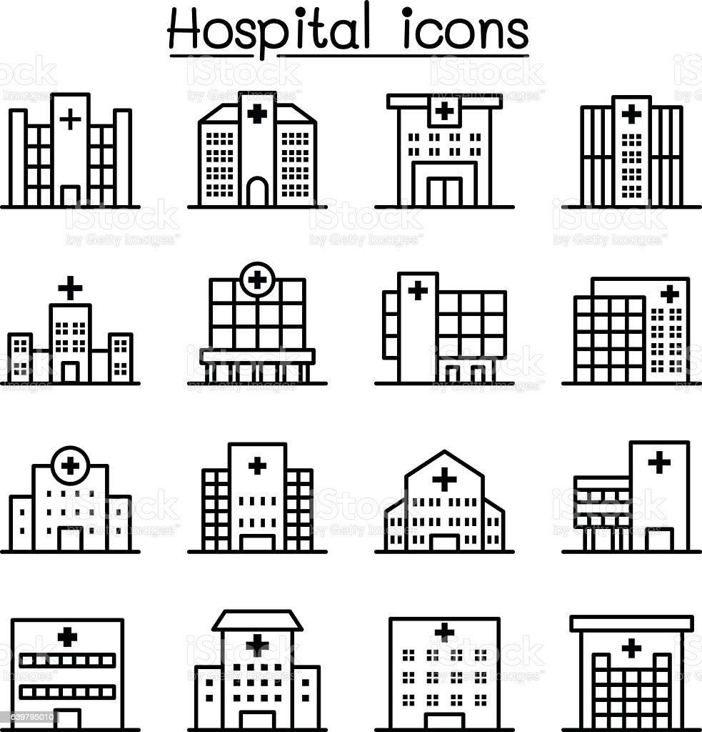 Hospital building icon set in thin line style vector art illustration