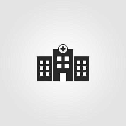 Hospital building icon. Simple design - health care, medical symbol. Vector illustration.
