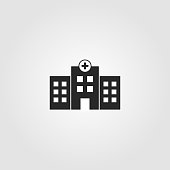 istock Hospital building icon. Simple design - health care, medical symbol. Vector illustration. 1186331250