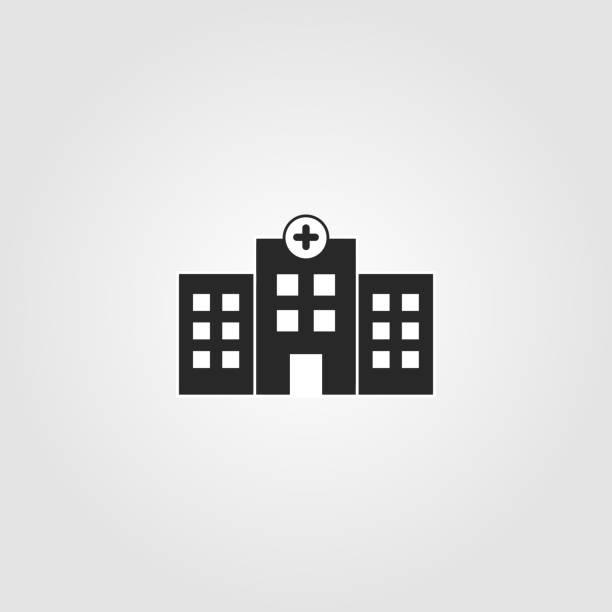 bildbanksillustrationer, clip art samt tecknat material och ikoner med sjukhus byggnad ikon. enkel design-hälsovård, medicinsk symbol. vektor illustration. - hospital