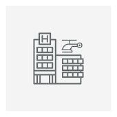 Hospital building icon, vector illustration. EPS 10.