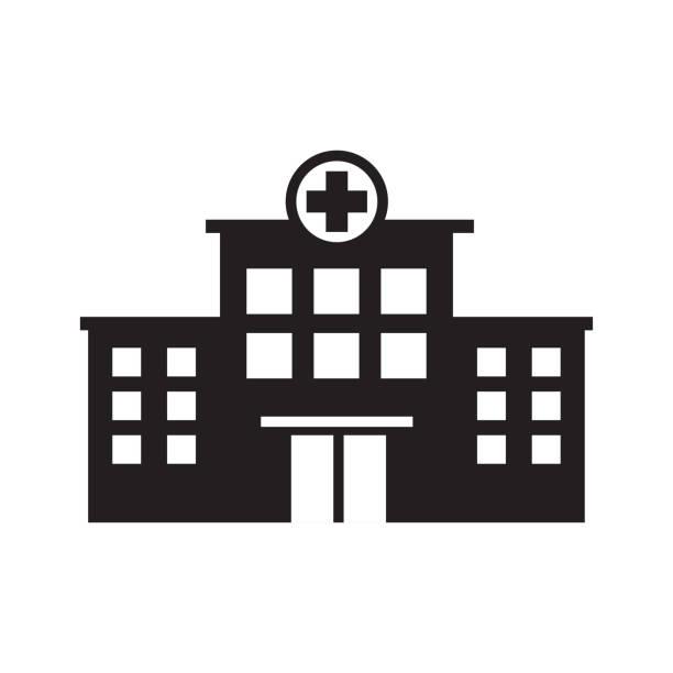 ilustraciones, imágenes clip art, dibujos animados e iconos de stock de plantilla vectorial de icono de construcción de hospital - hospital