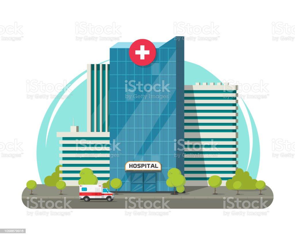 병원 건물 절연 벡터 일러스트 레이 션, 플랫 만화 현대 의료 센터 또는 병원 클립 아트 - 로열티 프리 거리 벡터 아트