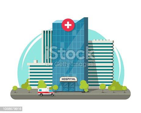 Hospital building isolated vector illustration, flat cartoon modern medical center or clinic