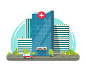 Hospital building isolated vector illustration, flat cartoon modern medical center or clinic