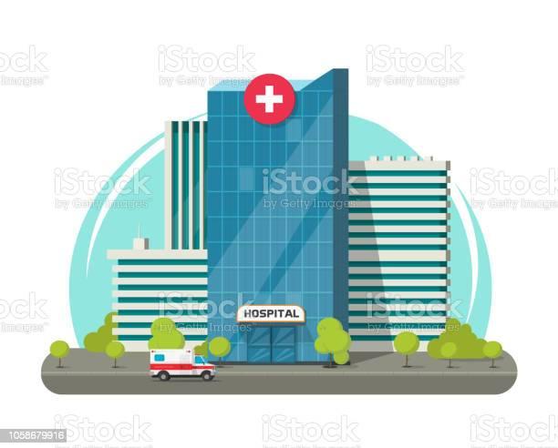 병원 건물 절연 벡터 일러스트 레이 션 플랫 만화 현대 의료 센터 또는 병원 클립 아트 거리에 대한 스톡 벡터 아트 및 기타 이미지