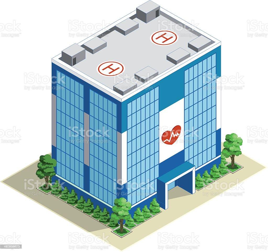 Hôpital bâtiment Isométrique - Illustration vectorielle