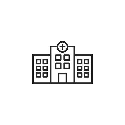 Hospital building line icon with editable stroke. Simple outline design - health care, medical symbol. Isolated on white background. Vector illustration.