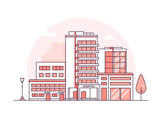 bildbanksillustrationer, clip art samt tecknat material och ikoner med sjukhusbyggnaden - moderna tunn linje design stil vektorillustration - hospital