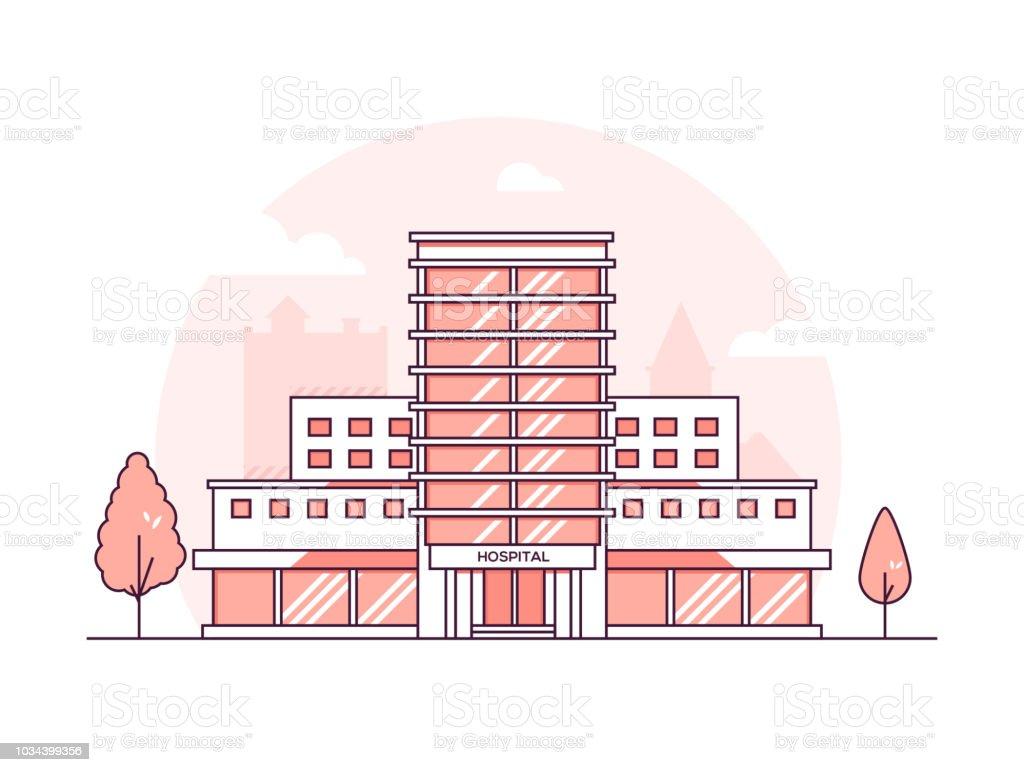 Bâtiment de l'hôpital - moderne mince illustration vectorielle de ligne design style - Illustration vectorielle
