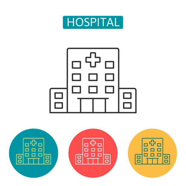 Krankenhausgebäude Umrisse Symbole gesetzt. – Vektorgrafik