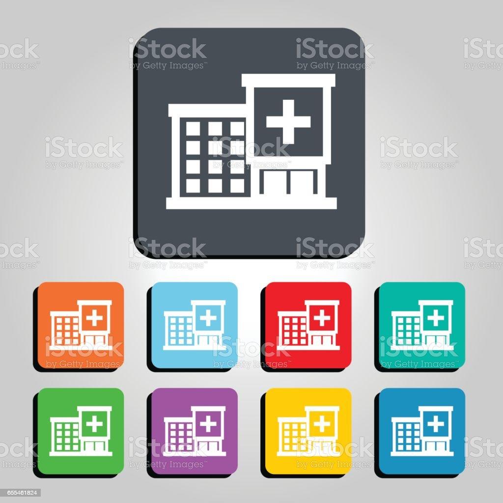 Hospital Building Vector Icon Illustration vector art illustration