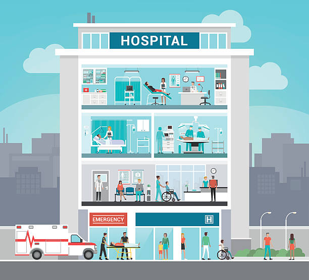 illustrations, cliparts, dessins animés et icônes de hôpital building - hôpital