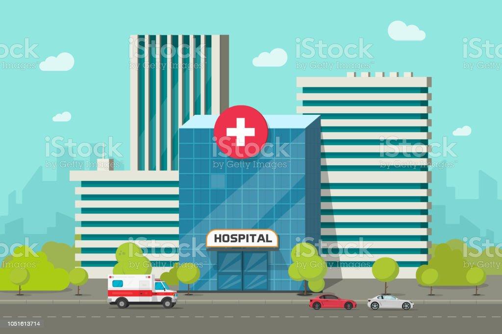 Klinikgebäude Vektor-Illustration, flache Cartoon modernen Ärztezentrum oder Klinik auf Stadt Straße clipart – Vektorgrafik