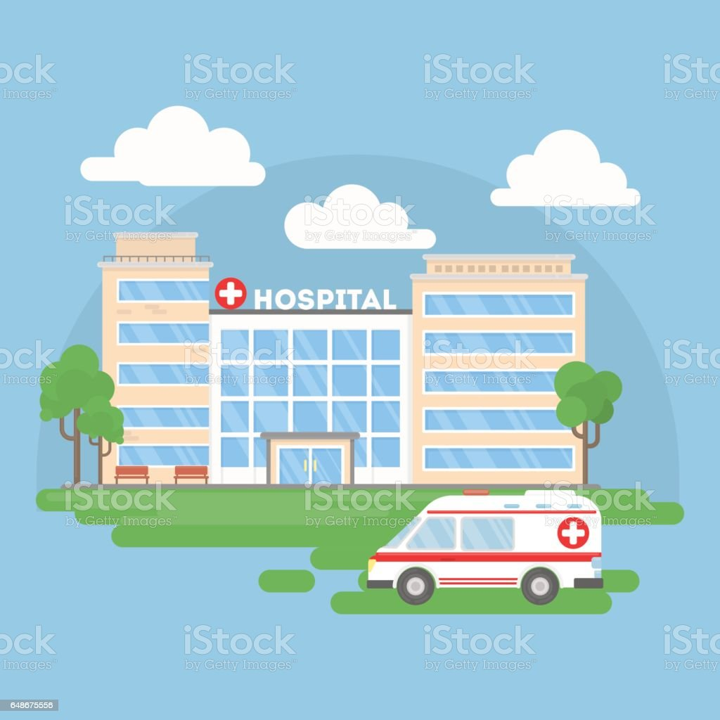 Hospital building with ambulance.