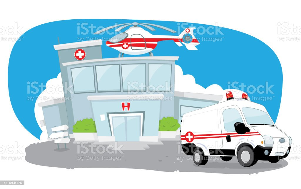 Hospital building with helicopter on its roof and a ambulance hurrying vector art illustration