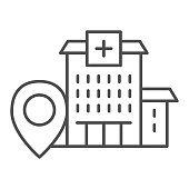 Hospital building with location marker thin line icon, Navigation concept, clinic pointer sign on white background, Hospital location icon in outline style for mobile and web. Vector graphics