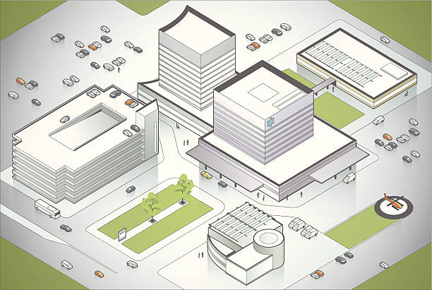 Hospital Campus Illustration A large, modern hospital seen in aerial view. Includes high-quality JPEG and EPS10 with transparencies. See more healthcare illustrations. campus stock illustrations