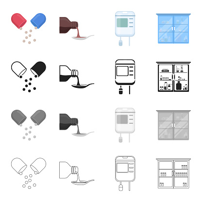 Hospital, clinic, pharmacy and other web icon in cartoon style. Means, elixir, equipment, icons in set collection.