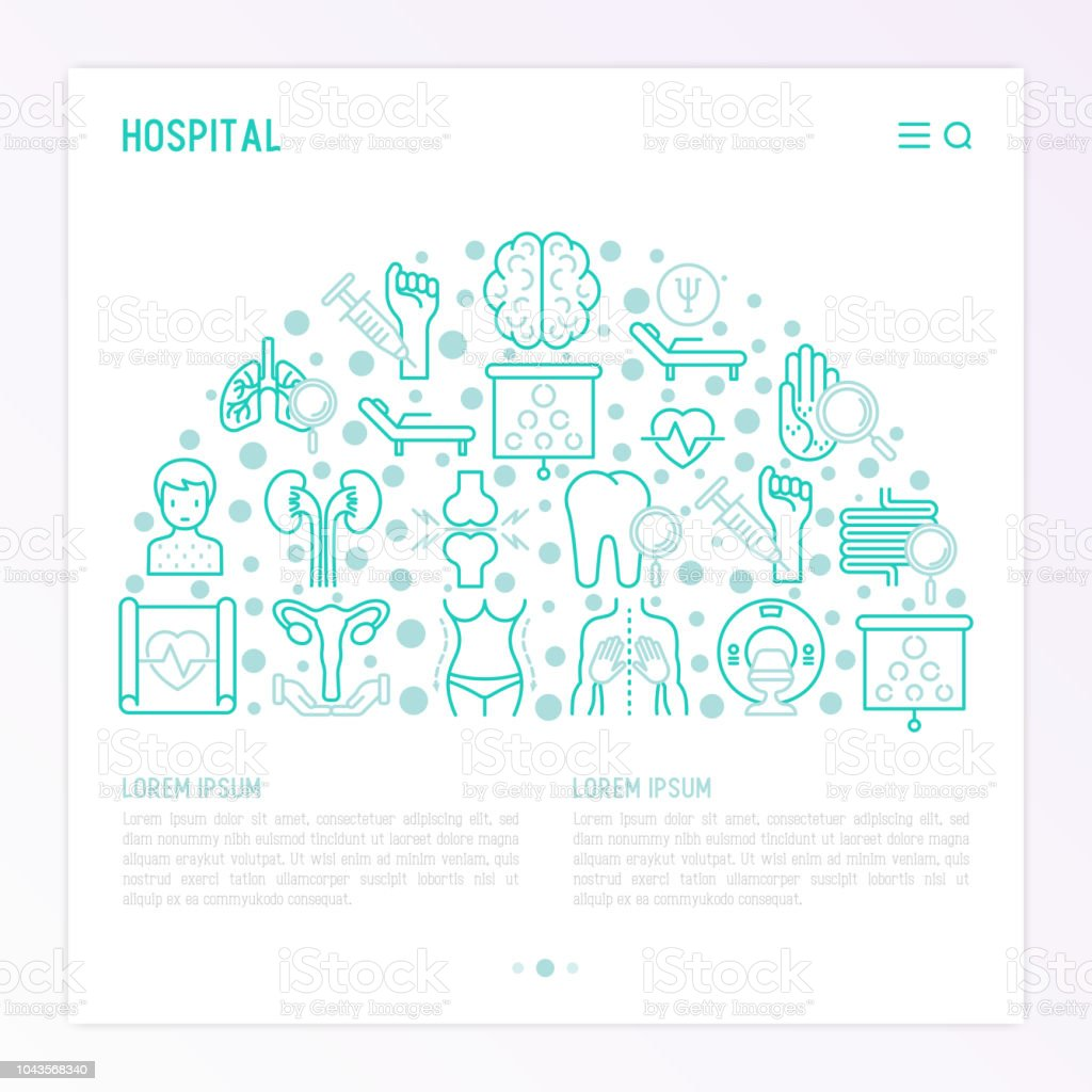 Hospital concept in half circle with thin line icons for doctor's notation: neurologist, gastroenterologist, manual therapy, ophthalmologist, cardiology, allergist, dermatologist. Vector illustration. vector art illustration