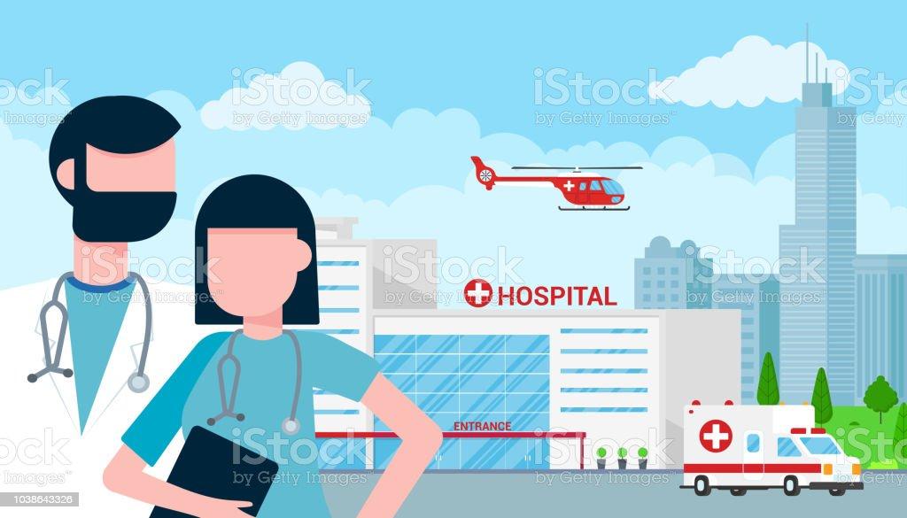 Krankenhaus-Konzept mit Gebäude, Arzt, Krankenschwester, Patienten, Hubschrauber und Krankenwagen Auto im flachen Stil. Klinikgebäude, Ärzte, Krankenschwestern, Frau im Rollstuhl, Krankenwagen, Hubschrauber und Stadt hinter. – Vektorgrafik