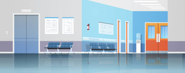 ilustrações de stock, clip art, desenhos animados e ícones de hospital corridor waiting hall with information board chairs elevator and doors empty no people clinic interior flat horizontal banner - interior