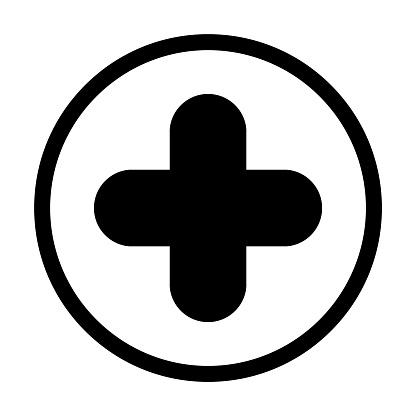 Hospital cross symbol, Medical health icon isolated on white background. Emergency design