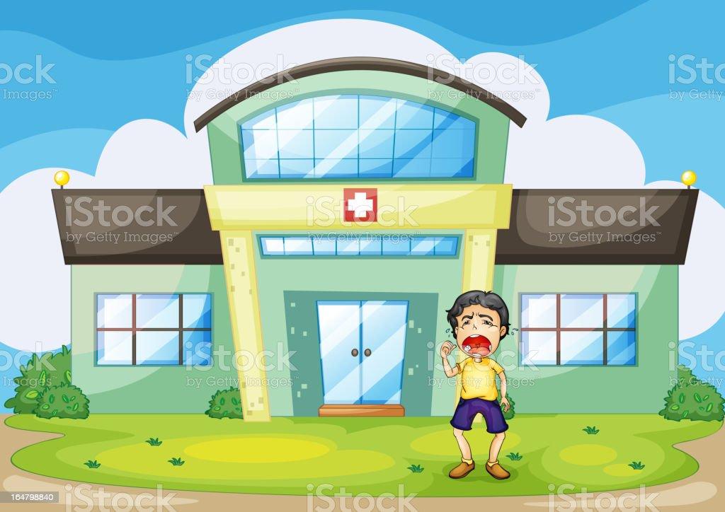 Hospital crying royalty-free stock vector art