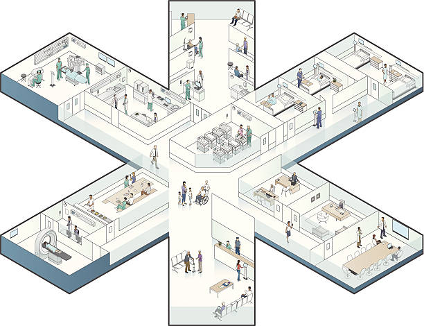 Hospital Cutaway Illustration, Star-Shaped vector art illustration
