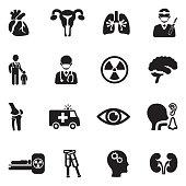 Hospital Departments Icons. Black Flat Design. Vector Illustration.
